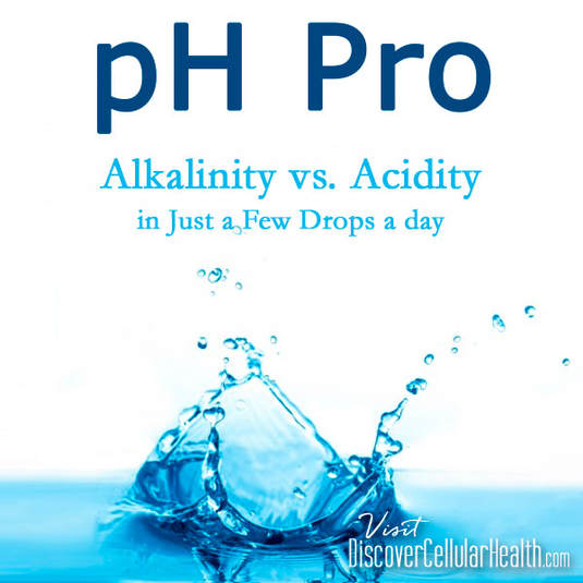 Alkalinity vs. Acidity: Foods like sugar and processed foods are acidic and lead to inflammation, oxidative stress and free radicals. Alkalinity helps boost our immune system and fight off disease.  Our pH Pro alkalinizes your body and enhances oxygen delivery so that bacteria and other infections cannot thrive. Visit DiscoverCellularHealth.com to order or for more information.