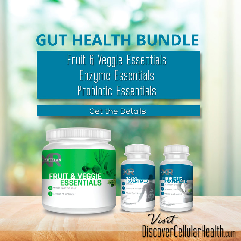 Our Gut Health Bundle will naturally assist in regaining and supporting a healthy gut. These whole food sourced supplements provide a powerful blend of stabilized probiotics, a unique blend of enzymes, and a delicious blend of fruits and veggies to aid your digestive tract. DiscoverCellularHealth.com
