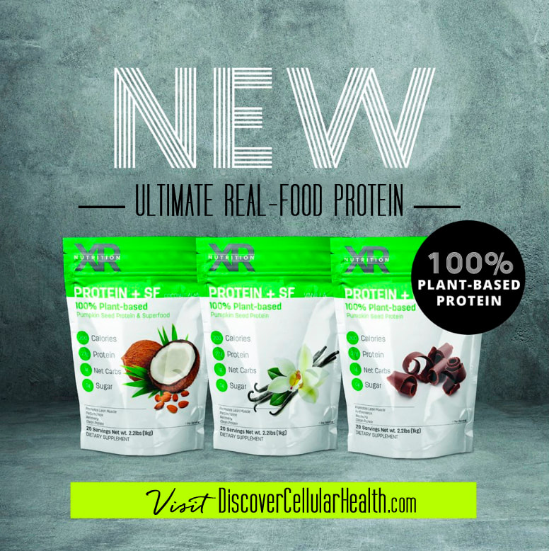 100% Plant-Based Protein + Superfood blend! 3 Flavors - Chocolate, Vanilla and Coconut Almond available at DiscoverCellularHealth.com
