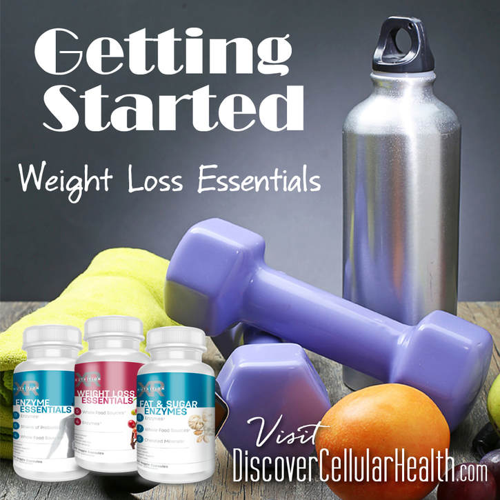 Getting Started Weight Loss Bundle: Our whole food friendly, naturally healthy weight loss necessities can provide your body with what it needs to help improve digestion, curb appetite, and support adrenal function - Enzyme Essentials, Weight Loss Essentials, Fat & Sugar Enzymes. Available at DiscoverCellularHealth.com